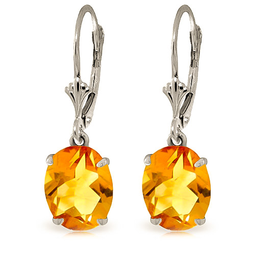 Citrine Drop Earrings 6.25ctw in 9ct White Gold