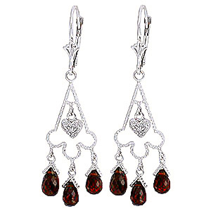 Garnet and Diamond Trilogy Drop Earrings 6.3ctw in 9ct White Gold
