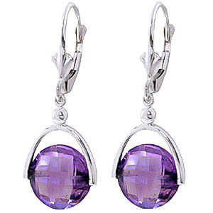 Amethyst Drop Earrings 6.5ctw in 9ct White Gold