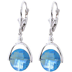 Blue Topaz Drop Earrings 6.5ctw in 9ct White Gold