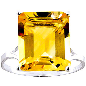 Citrine Ring 6.5ct in 9ct White Gold