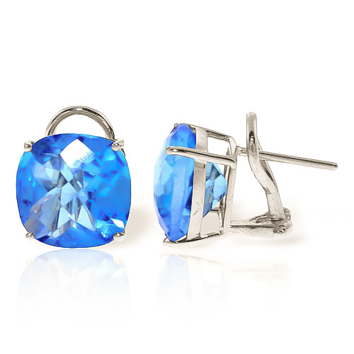 Blue Topaz Stud Earrings 7.2ctw in 9ct White Gold