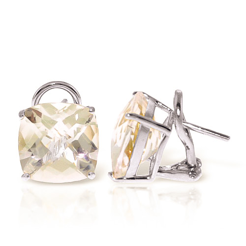 White Topaz Stud Earrings 7.2ctw in 9ct White Gold