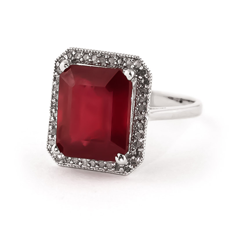 Ruby and Diamond Halo Ring 7.25ct in 9ct White Gold