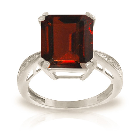 Garnet and Diamond Ring 7.5ct in 9ct White Gold
