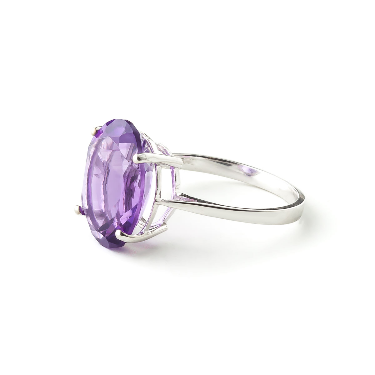 Oval Cut Amethyst Ring 7.55ct in 9ct White Gold
