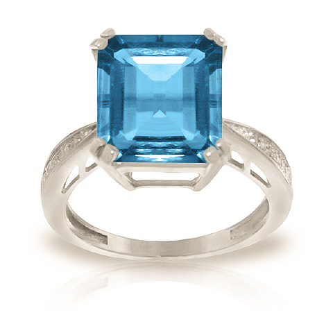 Blue Topaz and Diamond Ring 7.6ct in 9ct White Gold