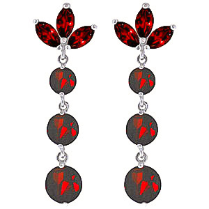 Garnet Petal Drop Earrings 8.7ctw in 9ct White Gold