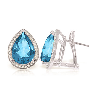 Blue Topaz and Diamond French Clip Halo Earrings 9.0ctw in 9ct White Gold