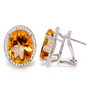 9ct White Gold 9.40ct Citrine French Clip Earrings