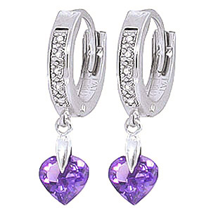 Diamond and Amethyst Earrings in 9ct White Gold