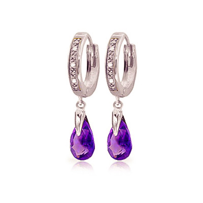 Diamond and Amethyst Droplet Huggie Earrings in 9ct White Gold