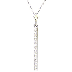 Diamond Bar Pendant Necklace in 9ct White Gold