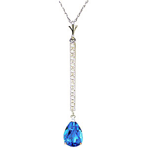 Diamond and Blue Topaz Bar Pendant Necklace in 9ct White Gold