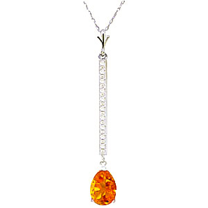 Diamond and Citrine Bar Pendant Necklace in 9ct White Gold