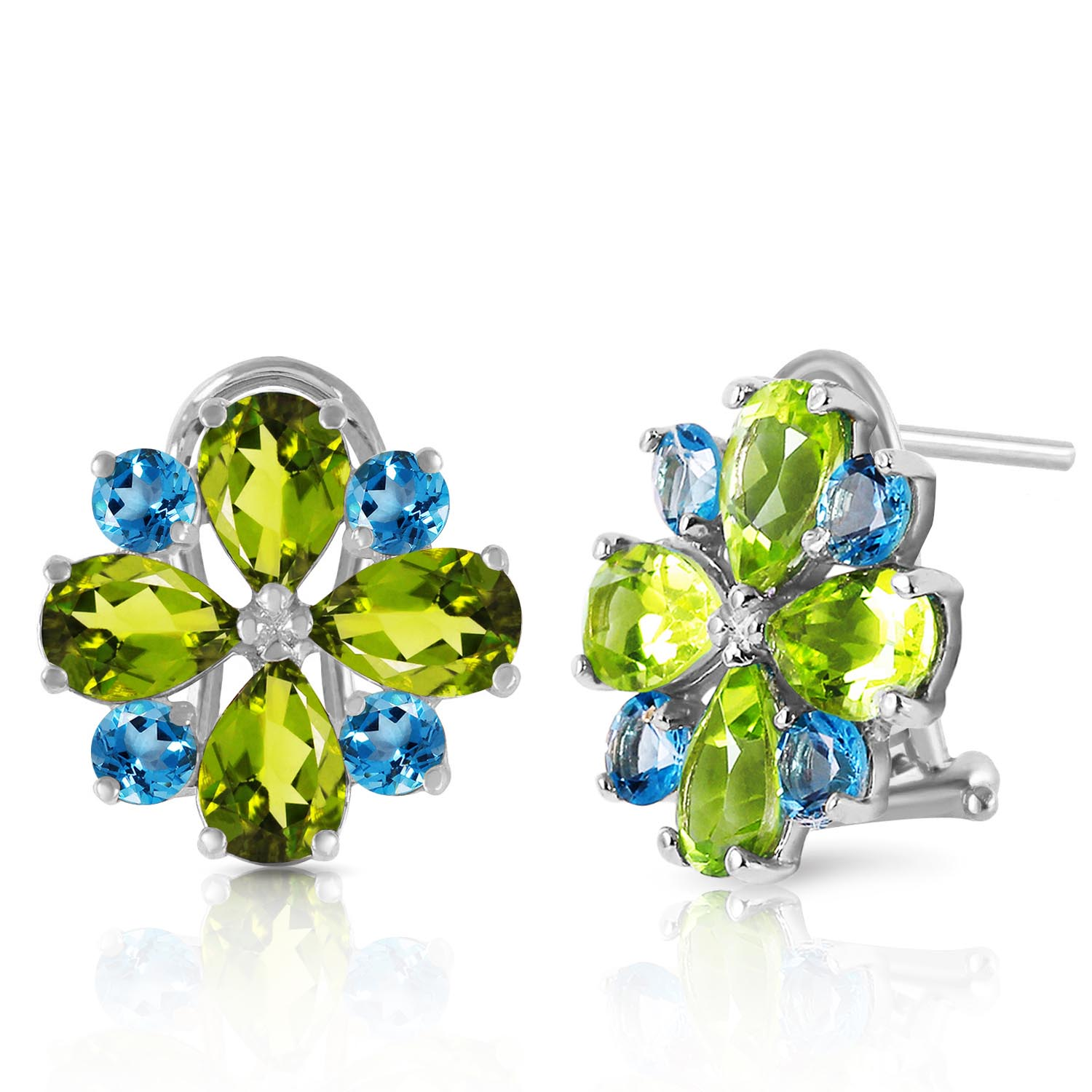 Peridot and Blue Topaz Sunflower Stud French Clip Earrings 4.85ctw in 9ct White Gold