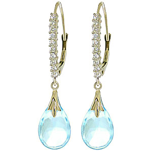 Diamond and Blue Topaz Droplet Earrings in 9ct White Gold