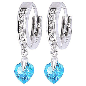 Diamond and Blue Topaz Earrings in 9ct White Gold
