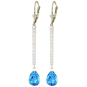 Diamond and Blue Topaz Bar Drop Earrings in 9ct White Gold
