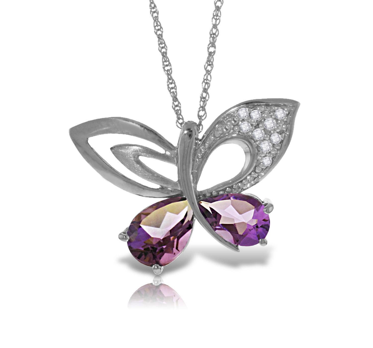 Stockists of Amethyst and Diamond Butterfly Pendant Necklace 3.5ctw in 9ct White Gold