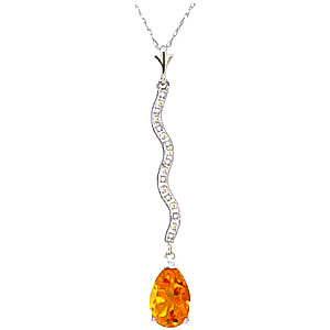 Diamond and Citrine Pendant Necklace in 9ct White Gold