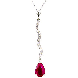 Diamond and Ruby Pendant Necklace in 9ct White Gold