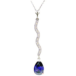 Diamond and Sapphire Pendant Necklace in 9ct White Gold