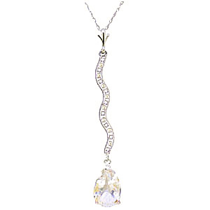 Diamond and White Topaz Pendant Necklace in 9ct White Gold
