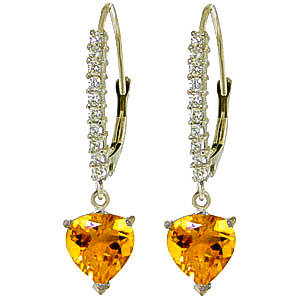 Diamond and Citrine Laced Drop Earrings in 9ct White Gold