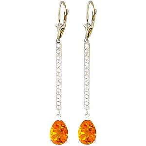 Diamond and Citrine Bar Drop Earrings in 9ct White Gold
