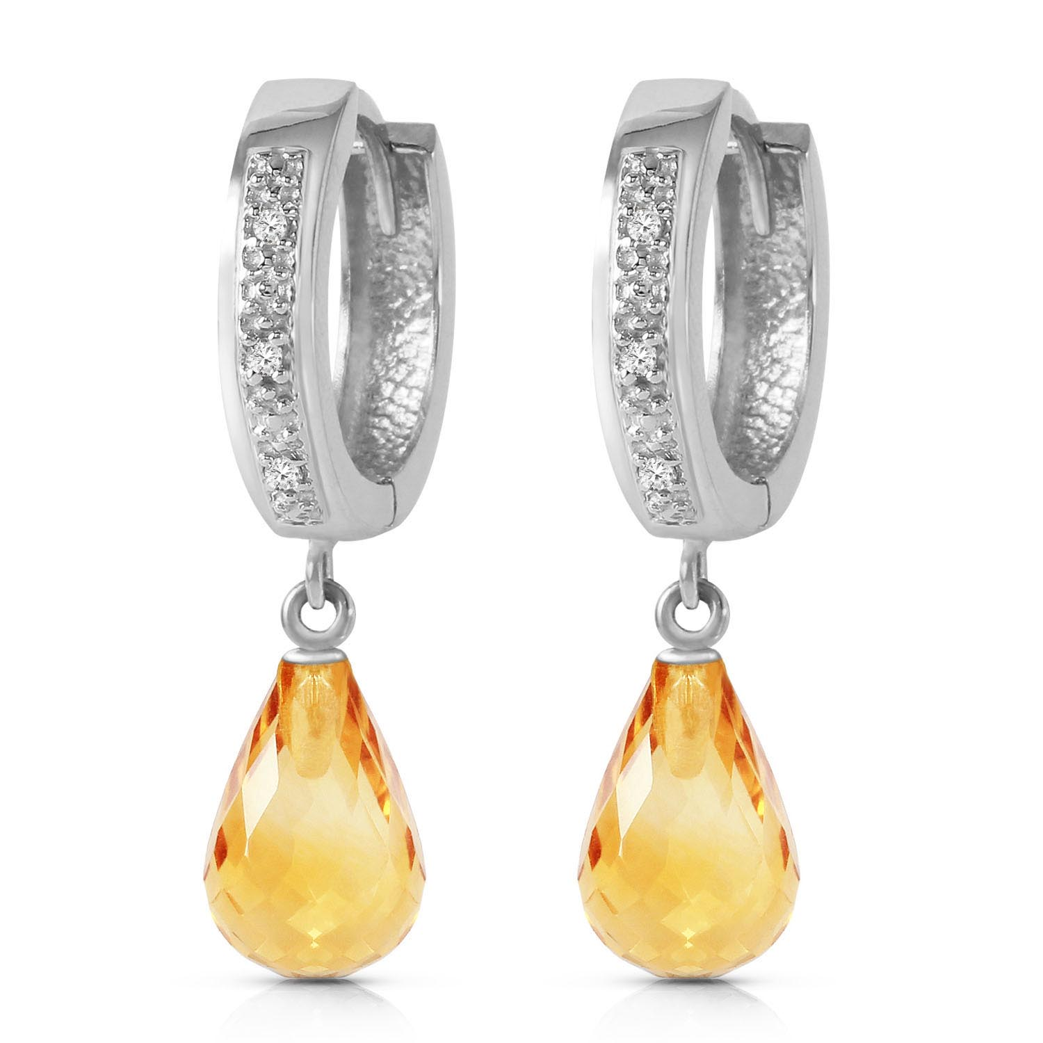 Diamond and Citrine Earrings in 9ct White Gold