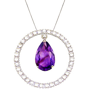 Diamond and Amethyst Circle of Life Pendant Necklace in 9ct White Gold