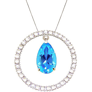 Diamond and Blue Topaz Circle of Life Pendant Necklace in 9ct White Gold