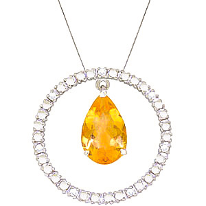 Diamond and Citrine Circle of Life Pendant Necklace in 9ct White Gold
