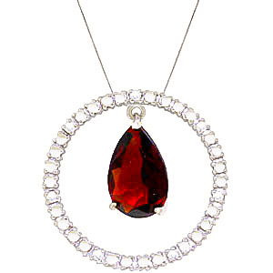 Diamond and Garnet Circle of Life Pendant Necklace in 9ct White Gold