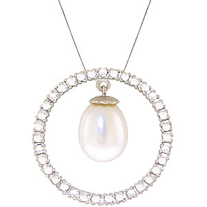 Diamond and Pearl Circle of Life Pendant Necklace in 9ct White Gold