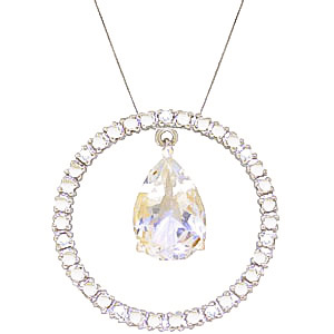 Diamond and White Topaz Circle of Life Pendant Necklace in 9ct White Gold