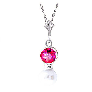 Pearl and Pink Topaz Pendant Necklace 1.23ctw in 9ct White Gold