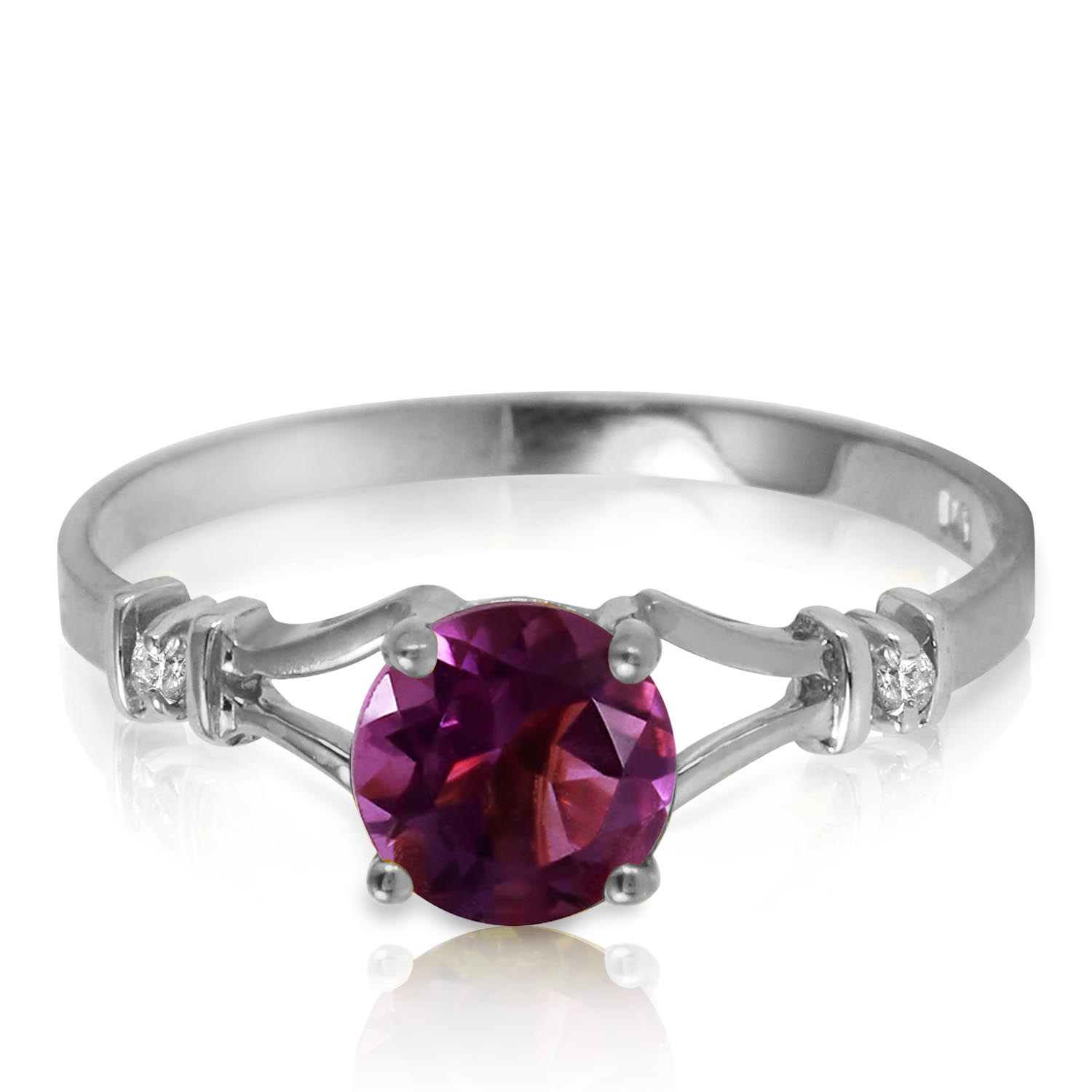 Stockists of Amethyst and Diamond Aspire Ring 0.9ct in 9ct White Gold