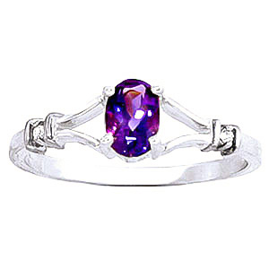 Amethyst and Diamond Aspire Ring 0.45ct in 9ct White Gold