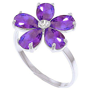 Amethyst and Diamond Five Petal Ring 2.2ctw in 9ct White Gold