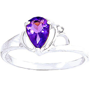 Amethyst and Diamond Ring 0.65ct in 9ct White Gold