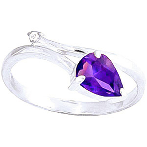 Amethyst and Diamond Ring 0.82ct in 9ct White Gold