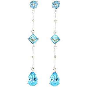 Blue Topaz and Diamond Palermo Drop Earrings 6.0ctw in 9ct White Gold