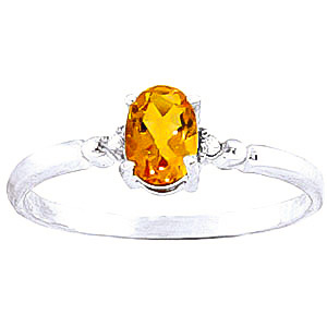 Citrine and Diamond Allure Ring 0.45ct in 9ct White Gold