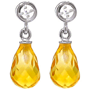 Citrine and Diamond Droplet Earrings 2.7ctw in 9ct White Gold