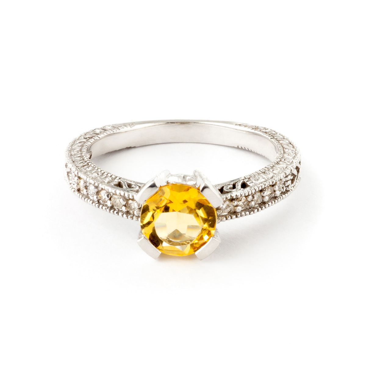 Citrine and Diamond Renaissance Ring 1.5ct in 9ct White Gold