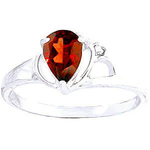 Garnet and Diamond Ring 0.65ct in 9ct White Gold