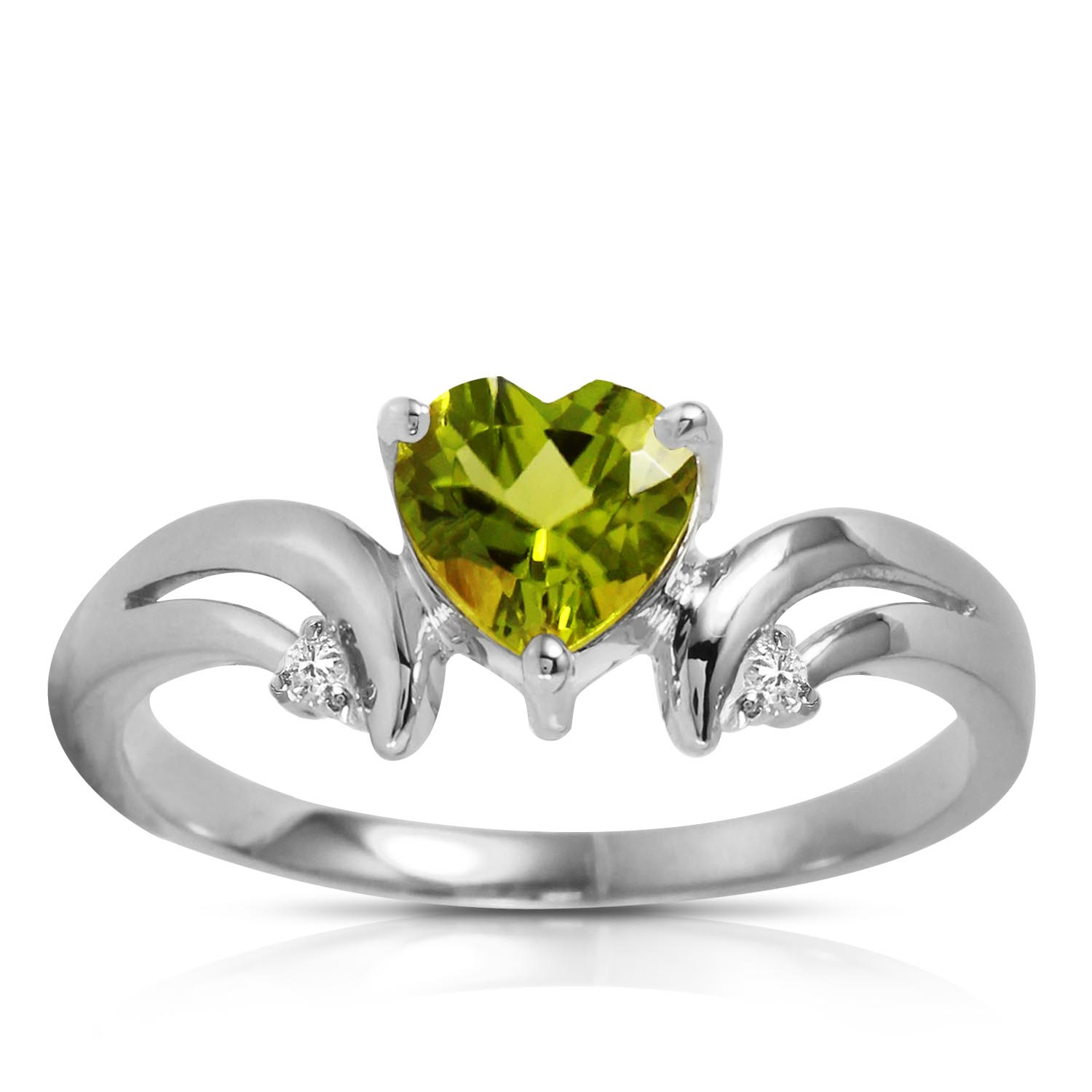 Peridot and Diamond Ring 1.25ct in 9ct White Gold
