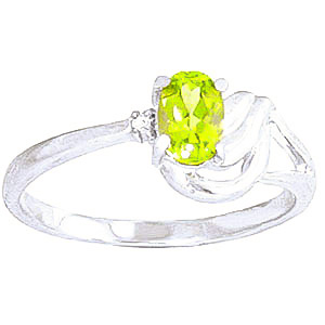 Peridot and Diamond Ring 0.45ct in 9ct White Gold